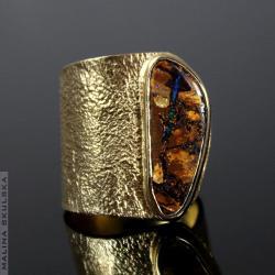 organiczny,opal,asymetryczny,regulowany,pozłacany - Pierścionki - Biżuteria