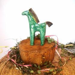 konik,koń,kon,turkus,szmaragd - Ceramika i szkło - Wyposażenie wnętrz