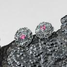 Kolczyki rubinowy,kwiatuszek,srebrne płatki,miniatura
