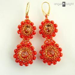 kolczyki,kryształowe,pomarańczowe,kwiaty - Kolczyki - Biżuteria