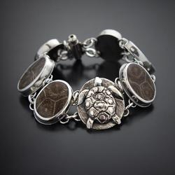srebrna,bransoletka,z żółwiem,z koralowcem - Bransoletki - Biżuteria