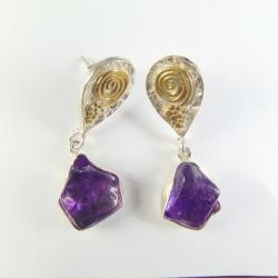 kolczyki srebrne z ametystami - Kolczyki - Biżuteria