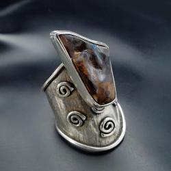 srebrny pierścionek boho z border opalem - Pierścionki - Biżuteria