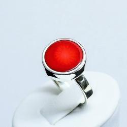 pieścionek z koralem,srebro,pierścionki,biżuteria - Pierścionki - Biżuteria