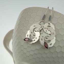 srebrne kolczyki z markizą cyrkonią - Kolczyki - Biżuteria