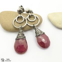 kolczyki,rubin,krople,róż,naturalne,srebro,rubiny - Kolczyki - Biżuteria