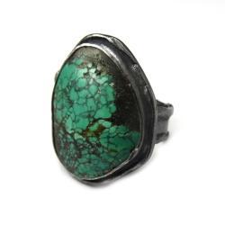 turkus,srebro,zieleń,srebrny,okazały,wiosna,retro - Pierścionki - Biżuteria