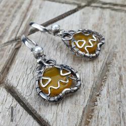 kolczyki srebrne,wire wrapping,chalcedon miodowy - Kolczyki - Biżuteria