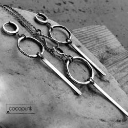 komplet,surowy,nowoczesny,kute srebro, - Komplety - Biżuteria