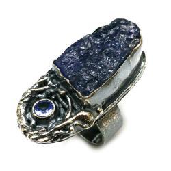 tanzanit,blask,oksyda,retro,fiolet,delikatny,faset - Pierścionki - Biżuteria