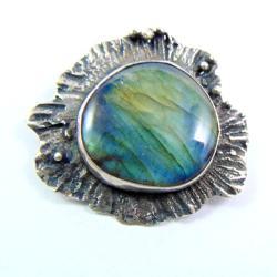 srebrny wisior z labradorytem - Wisiory - Biżuteria