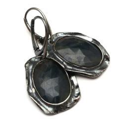 szafiry,srebrne,długie,pejzaże,faset,blask,granat - Kolczyki - Biżuteria