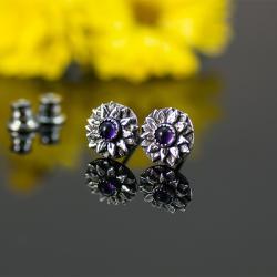 malutkie,sztyfty,unikatowe,z ametystami - Kolczyki - Biżuteria