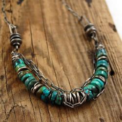 naszyjnik ze srebra i turkusów - Naszyjniki - Biżuteria