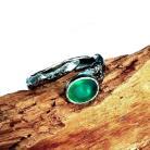 Pierścionki agat,mineral,kryształ,szarości,srebrny,zielony