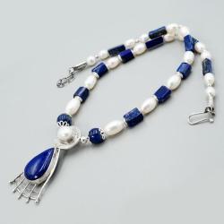 srebrny naszyjnik z lapis lazuli i pereł - Naszyjniki - Biżuteria