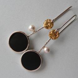 z onyksem,długie kolczyki,pozłacane - Kolczyki - Biżuteria