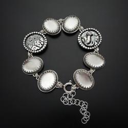 srebrna,bransoletka,z kryształem górskim - Bransoletki - Biżuteria