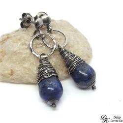 kolczyki,otulone,srebro,lapis lazuli,granatowe - Kolczyki - Biżuteria