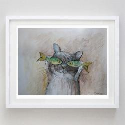 kotek,ryby,akwarela - Obrazy - Wyposażenie wnętrz