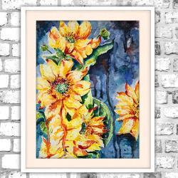 akwarela,słoneczniki,obraz,abstrakcja,jasny - Obrazy - Wyposażenie wnętrz
