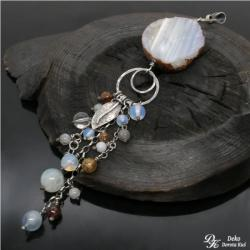 chalcedon,xxl,naszyjnik,wisior,błękitny,brąz - Wisiory - Biżuteria