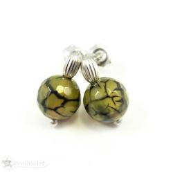 mini,agat,smoczy,zielony,małe,sztyfty,kolczyki - Kolczyki - Biżuteria