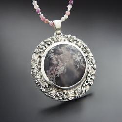 srebrny,naszyjnik,z agatem mszystym i kwiatami - Naszyjniki - Biżuteria