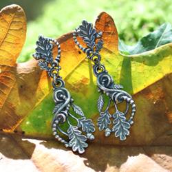 elfie,leśne kolczyki,srebrne liście,dąb - Kolczyki - Biżuteria