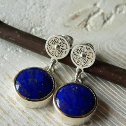 z lapisem lazuli,kolczyki na sztyftach,niebieski - Kolczyki - Biżuteria