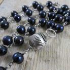 Naszyjniki długi naszyjnik z czarnych pereł