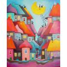 Obrazy domki,koty,miasteczko