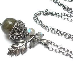 natura,liść,żołądź - Naszyjniki - Biżuteria