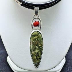 wisiorek z unakitem,srebro,biżuteria,wisiorki - Wisiory - Biżuteria