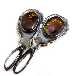 agat,srebrny,ogień,tęcza,szlachetny,srebro,długie - Kolczyki - Biżuteria
