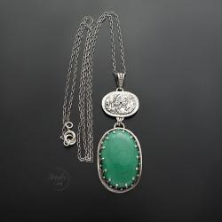 srebrny,naszyjnik,z malachitem - Naszyjniki - Biżuteria