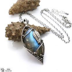 naszyjnik,labradoryt,unikat,niebieski,liść,srebro - Naszyjniki - Biżuteria