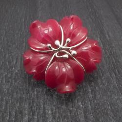 wisior,kwiat,srebro,romantyczny,rożowy - Wisiory - Biżuteria