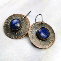 kolczyki,lapis lazuli,młotkowane - Kolczyki - Biżuteria