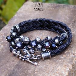 bransoleta z pereł,biżuteria skórzana - Bransoletki - Biżuteria