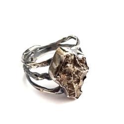 meteoryt,srebrno,szarości,meteoryt,srebro,unisex - Pierścionki - Biżuteria
