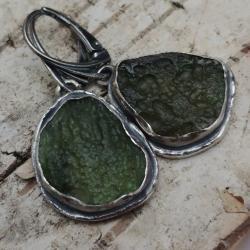 moldawit,srebrny,blask,butelkowa zieleń,butelkowe, - Kolczyki - Biżuteria
