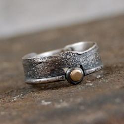 obrączka ze srebra i złota - Pierścionki - Biżuteria