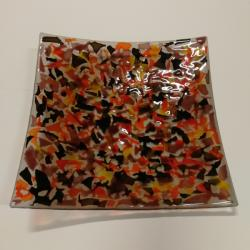 patera,szkło,fusing,żółty,czerwony,czarny - Ceramika i szkło - Wyposażenie wnętrz