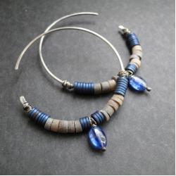 srebro,hematyt,kianit,muszla,okręgi - Kolczyki - Biżuteria
