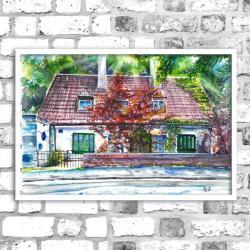 akwarela,kotedż,krajobraz,delikatny,budynek - Obrazy - Wyposażenie wnętrz