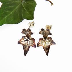 srebro,oksyda,kolczyki,listki - Kolczyki - Biżuteria