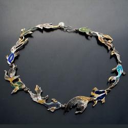 kolorowy naszyjnik,srebro emalia,na lato - Naszyjniki - Biżuteria