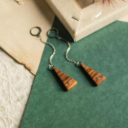 wiszące kolczyki,drewniane kolczyki,labradoryt - Kolczyki - Biżuteria