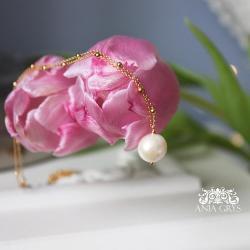 wisiorek,perła,pozłacany,naszyjnik - Naszyjniki - Biżuteria